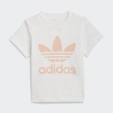 Kinder Originals Trefoil Shorts und T-Shirt Set Weiß