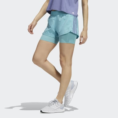 Pantalón corto Pacer Woven Two-in-One 3 bandas Verde Mujer Running