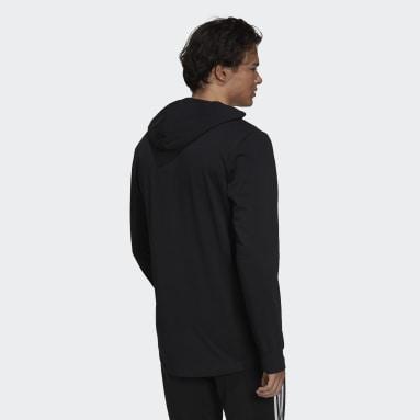 Erkek Sport Inspired Siyah Essentials Logo Kapüşonlu Üst