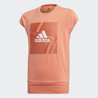 T-shirt Branded Arancione Ragazza Yoga