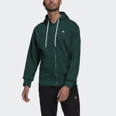 Erkek Sportswear Yeşil adidas Sportswear Comfy & Chill Full Zip Kapüşonlu Üst