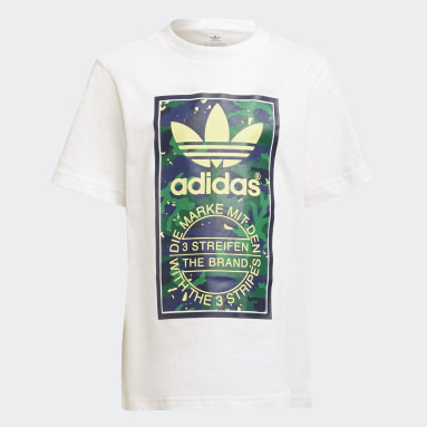 T-shirt Camo Print Graphic Blanc Garçons Originals