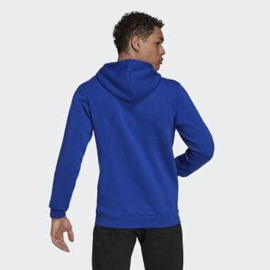 Men Sport Inspired Blue Essentials Fleece 3-Stripes Full-Zip Hoodie