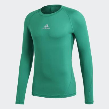 Men Football Green Alphaskin Sport Long-Sleeve Top