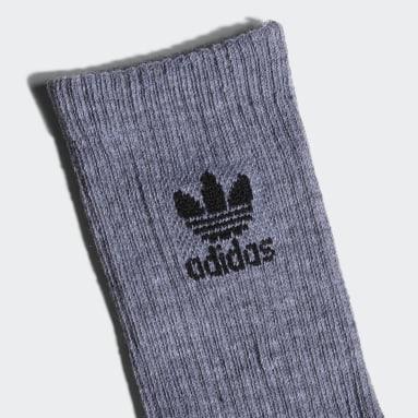 Youth Originals Grey Trefoil Crew Socks 6 Pairs