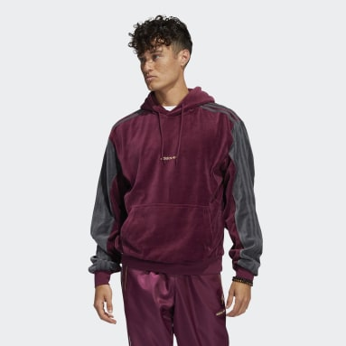 Mænd Originals Burgundy adidas SPRT Velour hættetrøje