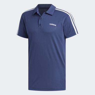 Men Training Blue Designed 2 Move 3-Stripes Polo Shirt
