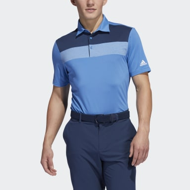 Men Golf Blue Novelty Colorblock Primegreen Polo Shirt