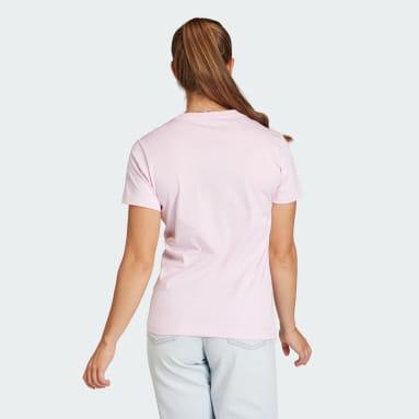 Camiseta LOUNGEWEAR Essentials Logo Rosa Mulher Estilo Esportivo