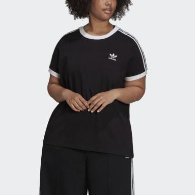 Kvinder Originals Sort Adicolor Classics 3-Stripes Plus Size T-shirt