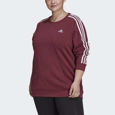 Dam Sportswear Röd Essentials 3-Stripes Fleece Sweatshirt (Plus Size)