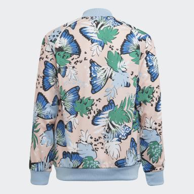 Girls Originals Pink HER Studio London Animal Flower Print SST Track Jacket