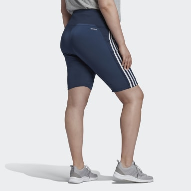 Women Gym & Training Blue Designed 2 Move High-Rise Sport Short Tights (Plus Size)