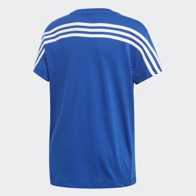Boys Training Blue Must Haves 3-Stripes Tee