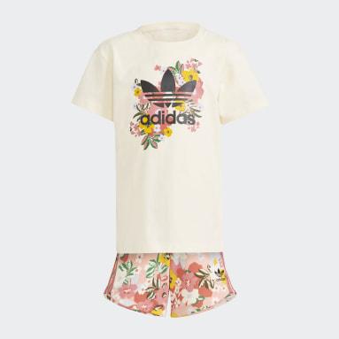 เด็กผู้หญิง Originals สีขาว ชุดเสื้อยืดและกางเกงขาสั้นลายดอกไม้ HER Studio London