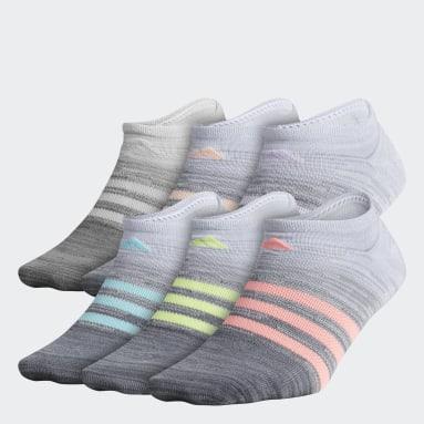 Children Running Grey Superlite Multi-Space-Dyed No-Show Socks 6 Pairs