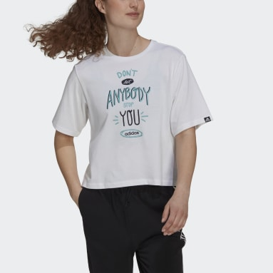 T-shirt Don't Let Anybody Stop You Graphic blanc Femmes Sport Inspired