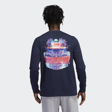 Men's Essentials Blue adidas Los Angeles Open Source Long Sleeve Graphic Tee
