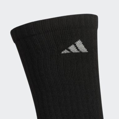 Men's Basketball Black Athletic Cushioned Crew Socks 6 Pairs