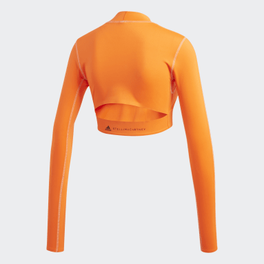 Women Sportswear Orange TruePace Long Sleeve Crop Top