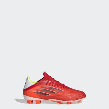 Botas de Futebol X Speedflow.1 — Piso Firme Vermelho Criança Futebol