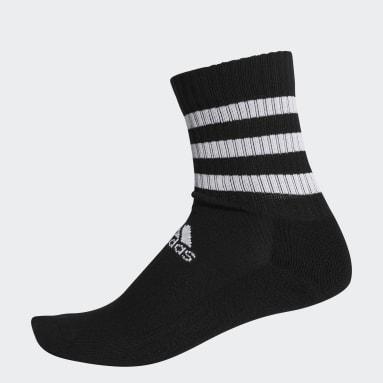 Training Black 3-Stripes Cushioned Crew Socks