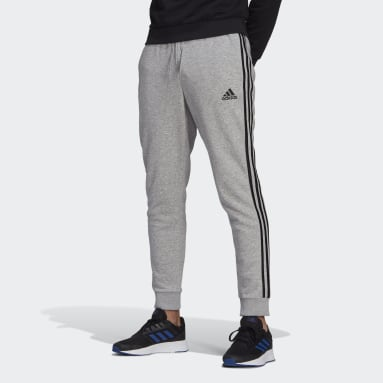 Men's Essentials Grey Essentials French Terry Tapered-Cuff 3-Stripes Pants