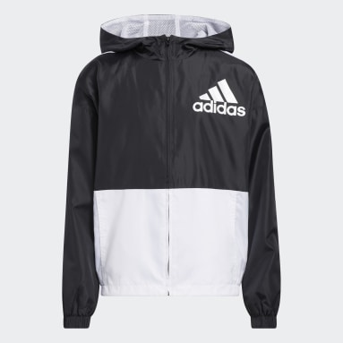 Youth Training Black Colorblock Wind Jacket With Hood