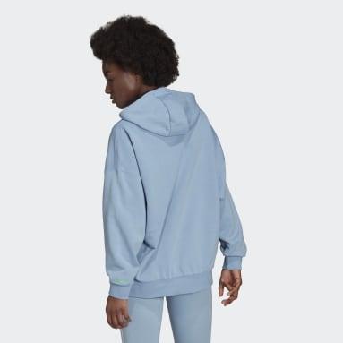 Hoodie adicolor Shattered Trefoil Oversize Blu Donna Originals