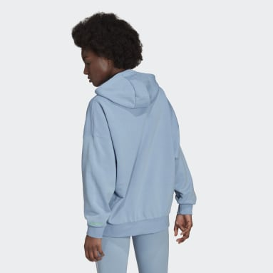 Sweat-shirt à capuche Adicolor Shattered Trefoil Oversize Bleu Femmes Originals