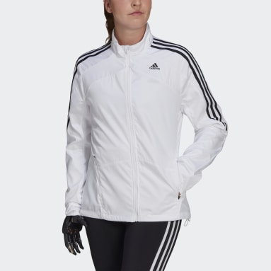 Women Running White Marathon 3-Stripes Jacket