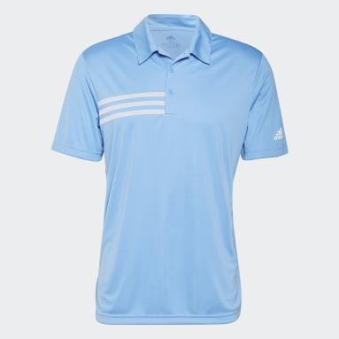 Men Golf Blue 3-Stripes Chest Polo Shirt
