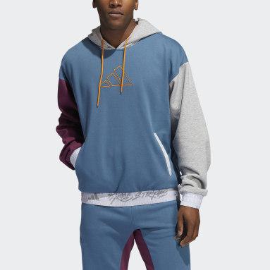 Men's Basketball Blue 3-Stripes Basketball Hoodie