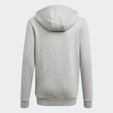 Jungen Sportswear Essentials 3-Streifen Kapuzenjacke Grau