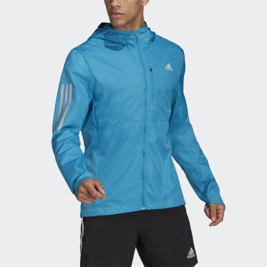 Men Running Turquoise Own the Run Hooded Wind Jacket