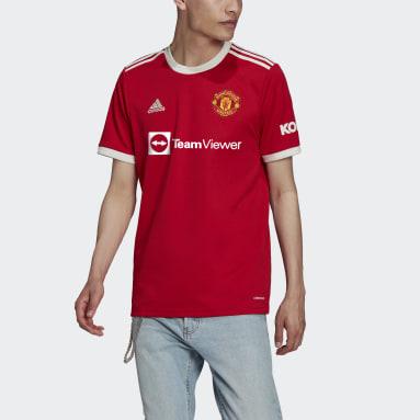 ผู้ชาย ฟุตบอล สีแดง เสื้อฟุตบอลชุดเหย้า Manchester United 21/22