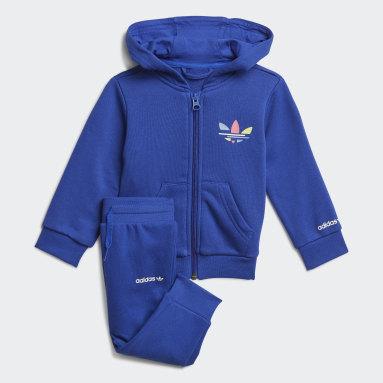 Conjunto com Casaco de Capuz Adicolor Azul Criança Originals