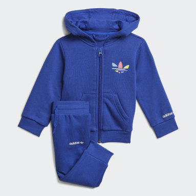 Ensemble Adicolor Trefoil Full Zip Hoodie Bleu Enfants Originals