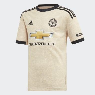 Boys Fodbold Beige Manchester United udebanetrøje