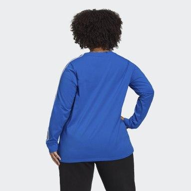 T-shirt Adicolor Classics Long Sleeve (Grandes tailles) Bleu Femmes Originals
