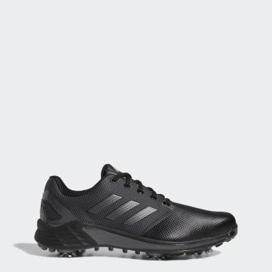 Men's Golf Black ZG21 Wide Golf Shoes