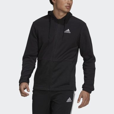 Felpa con cappuccio Essentials Polar Fleece Giant Logo Full-Zip Nero Uomo Sportswear