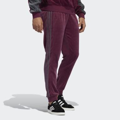 Pantaloni adidas SPRT Velour 3-Stripes Bordeaux Uomo Originals