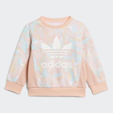 Girls Originals Pink Allover Print Marble Crew Set