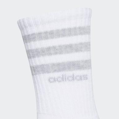 Women's Training White 3-Stripes Crew Socks 3 Pairs