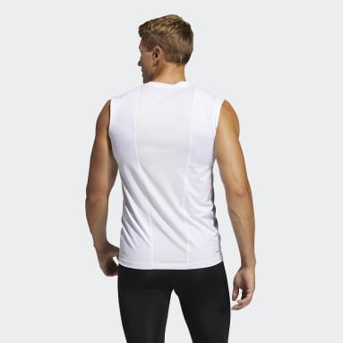 Men Gym & Training White Techfit Sleeveless Fitted Tank Top