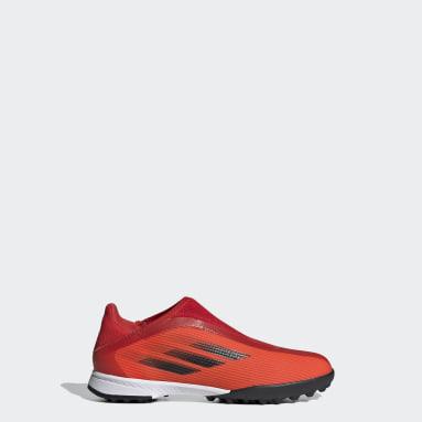 красный Футбольные бутсы X Speedflow.3 Laceless TF