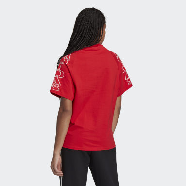 Women Originals Red Loose adidas Letter T-Shirt