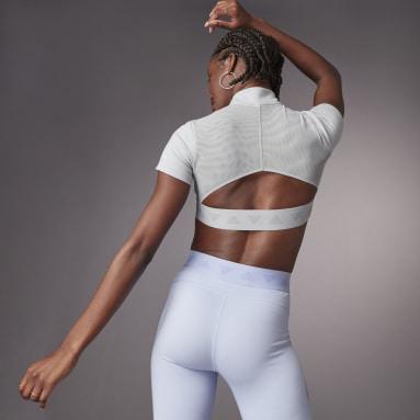 Camiseta Hyperglam Crop Zip Gris Mujer Running