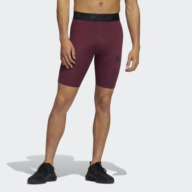 Men Gym & Training Burgundy Techfit 3-Stripes Short Tights